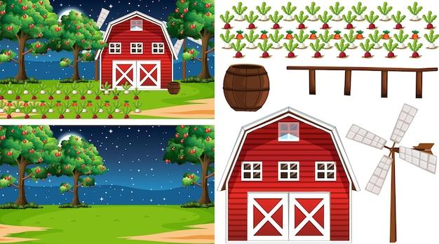 Bauernhofelementsatz lokalisiert mit bauernhofszene