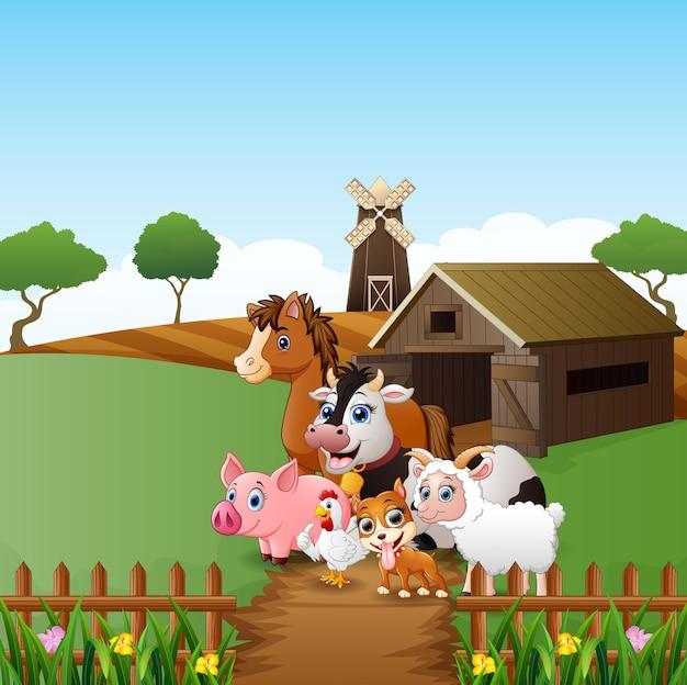 Bauernhofhintergrund mit glücklichen tieren
