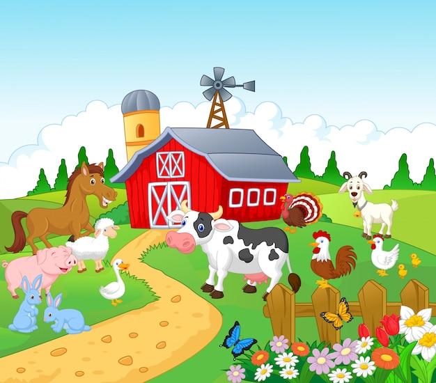 Bauernhofhintergrund mit tieren