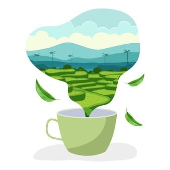 Bauernhofillustration in form von rauch, der von der teetasse kommt