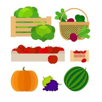 Bauernhofkörbe mit gemüse- und fruchtvektorillustration