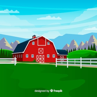 Bauernhoflandschaft im flachen stil