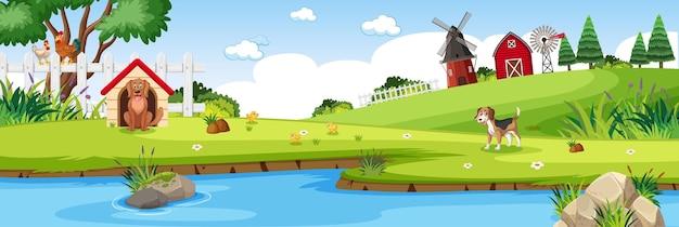 Bauernhoflandschaft mit feld und roter scheune in der sommersaison