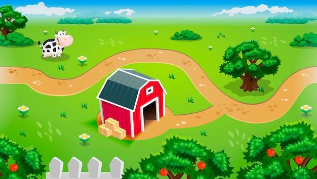 Bauernhoflandschaft mit stall und kuh
