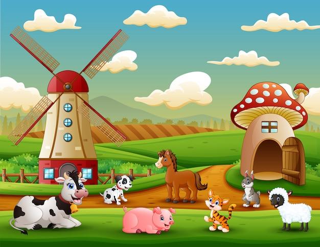 Bauernhoflandschaft mit tieren außerhalb des käfigs