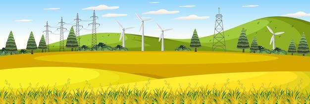 Bauernhoflandschaft mit windkraftanlage in der sommersaison