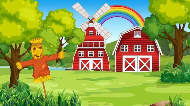 Bauernhoflandschaftsszene mit scheune und windmühle