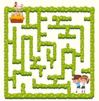 Bauernhofmädchen-labyrinthkonzept