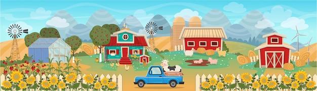 Bauernhofpanorama mit gewächshaus, scheune, häusern, mühlen, feldern, bäumen und nutztieren. vektorillustration im flachen karikaturstil.