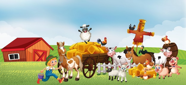Bauernhofszene in der natur mit scheune und pferdefahrzeug und tierfarm
