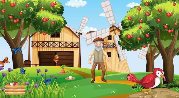 Bauernhofszene mit altem bauernmann und vieh