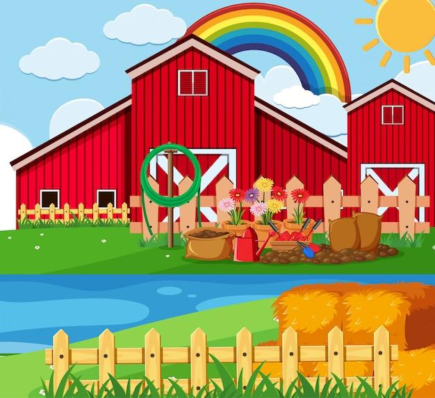Bauernhofszene mit blumengarten bei der scheune
