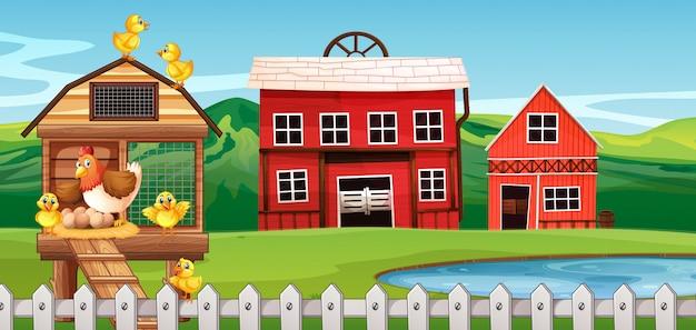 Bauernhofszene mit hühnern