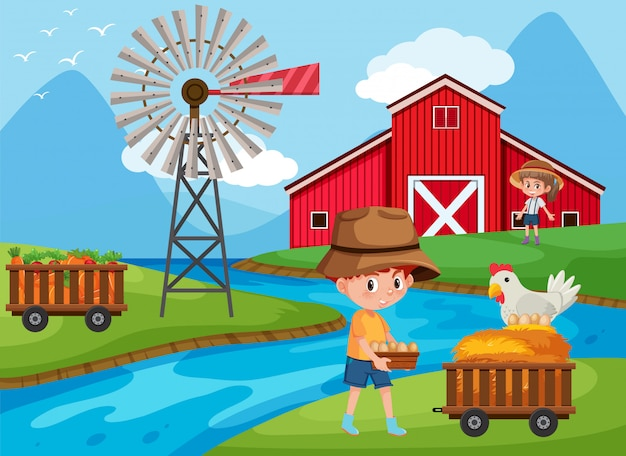 Bauernhofszene mit kindern, die auf dem bauernhof arbeiten