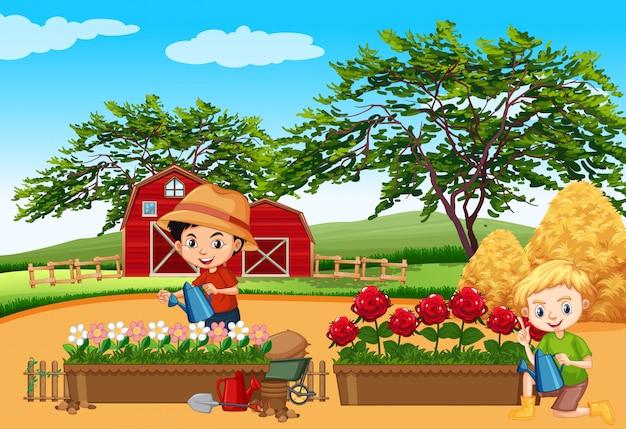 Bauernhofszene mit kindern, die blumen im garten gießen Premium Vektoren