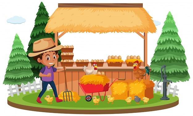 Bauernhofszene mit landwirt und hühnern auf weißem hintergrund