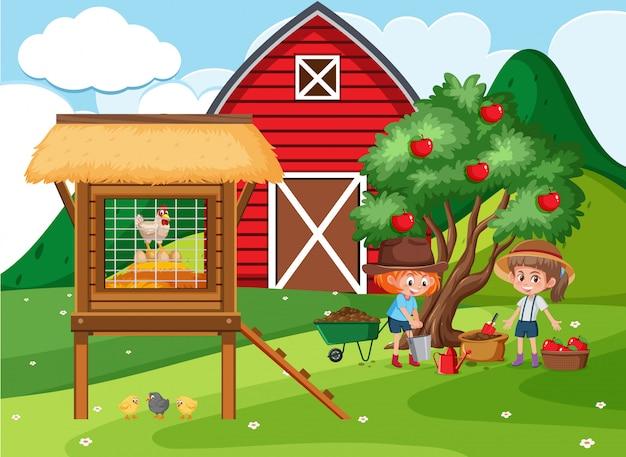 Bauernhofszene mit mädchen, die äpfel im garten pflücken