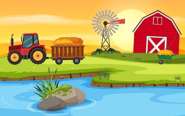 Bauernhofszene mit scheune und traktor