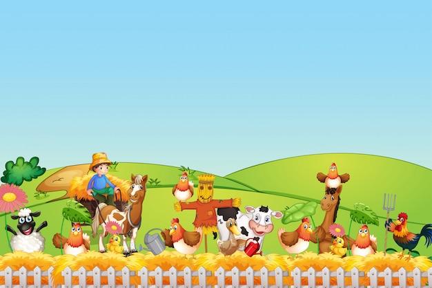 Bauernhofszene mit tierfarm und leerem himmel