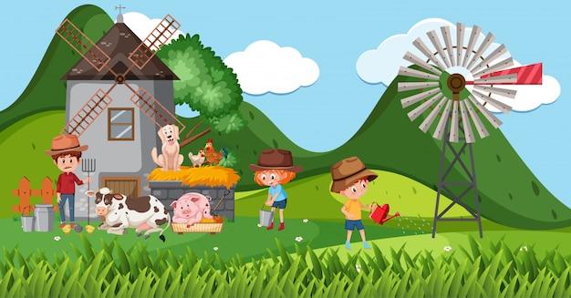 Bauernhofszene mit vielen kindern und tieren auf dem bauernhof