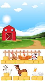Bauernhofszene mit vielen tieren auf dem bauernhof