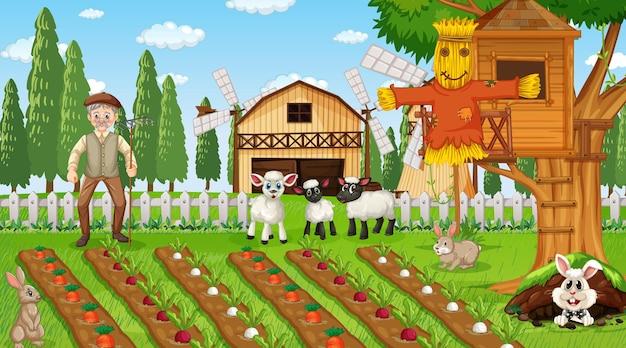 Bauernhofszene tagsüber mit altem bauernmann und süßen tieren