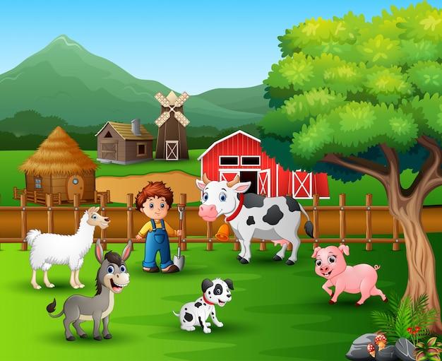 Bauernhofszenen mit verschiedenen tieren