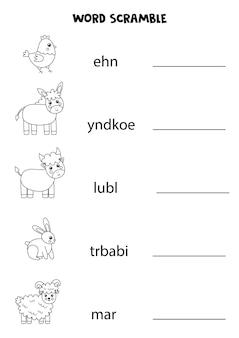 Bauernhoftiere-wort-gerangel für kinder. sortiere die buchstaben in die richtige reihenfolge. arbeitsblatt für kinder.