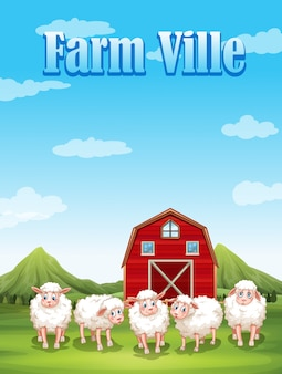 Bauernhofville mit schafen und scheune