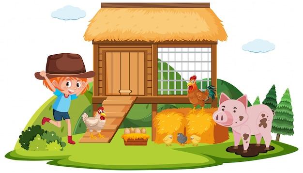 Bauernmädchen und viele tiere auf dem bauernhof