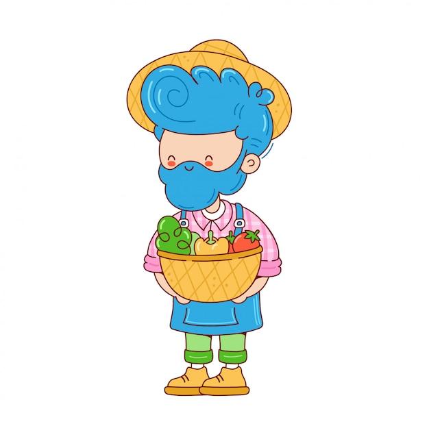 Bauernmann mit gemüsekorb. zeichentrickfigur illustration. auf weißem hintergrund isoliert