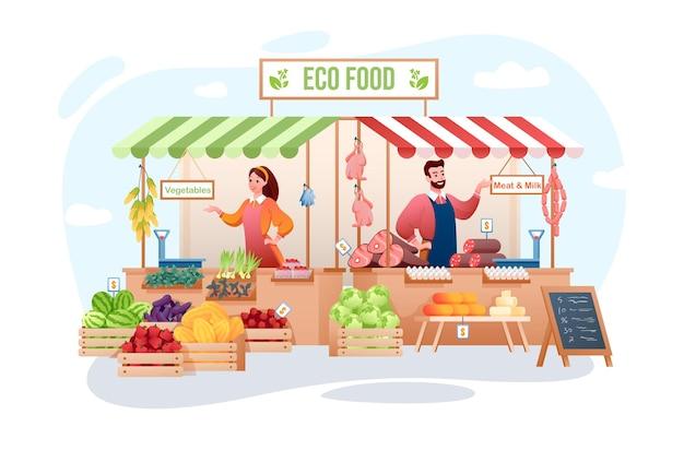 Bauernmarkt. glückliche bauernleute, die bio-fleisch, öko-gemüse obst verkaufen. agribusiness, landwirtschaft