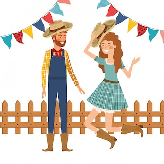 Bauernpaar tanzen mit strohhut