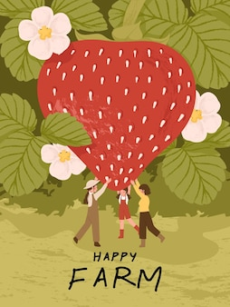 Bauernzeichentrickfiguren mit erdbeerfrüchten in bauernhofplakatillustrationen