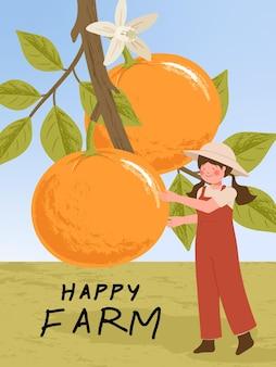 Bauernzeichentrickfiguren mit orangefarbenen zitrusfrüchten ernten in farmplakatillustrationen