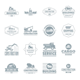 Baufahrzeug-logoikonen eingestellt