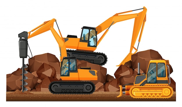 Baufahrzeuge auf der baustelle arbeiten