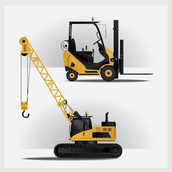 Baufahrzeuge auf site-vektor-illustration