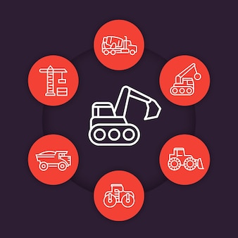 Baufahrzeuge linie icons set, schwere maschinen, bagger, bagger, betonmischer