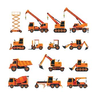 Baufahrzeuge objekte orange set