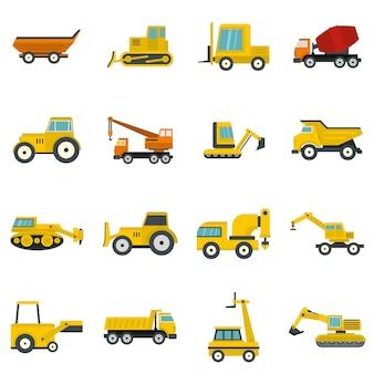 Baufahrzeugikonen eingestellt in flache art