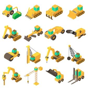 Baufahrzeugikonen eingestellt. isometrische karikaturillustration von 16 gebäudefahrzeugvektorikonen für netz