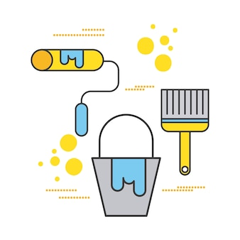 Baufarbeneimerrollen- und -bürstenwerkzeugikonen