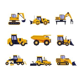Baugeräte straßenwalze, bagger, bulldozer und traktorsatz