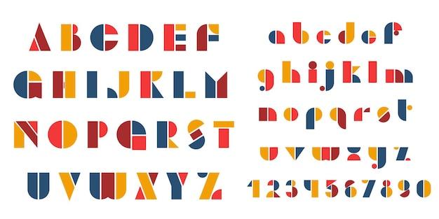 Bauhaus-buchstaben und -zahlen setzen moderne typografie-schriftart für events, werbeaktionen, logos-banner