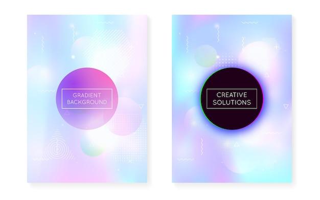 Bauhaus-cover-set mit flüssigen formen. dynamische holografische flüssigkeit mit gradienten-memphis-hintergrund. grafikvorlage für plakat, präsentation, banner, broschüre. lebendiges bauhaus-cover-set.