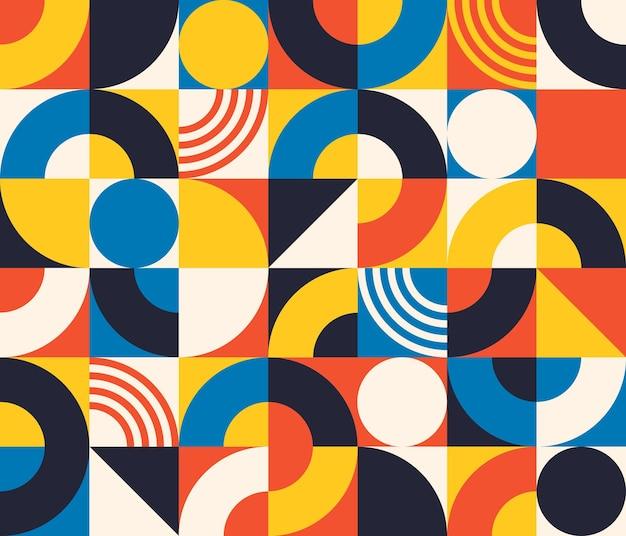 Bauhaus-nahtloses muster. abstrakte quadratische fliesen mit kreis und dreieck. retro-druck im minimalistischen stil mit geometrischer figur, vektortextur. grundformen für verschiedene einfache kunstdesigns