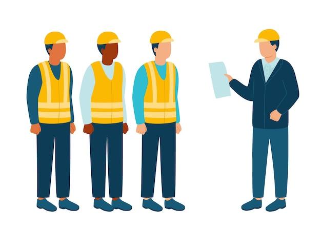 Bauindustrie-architekt-ingenieur kommuniziert mit dem bauunternehmer des arbeiters im helm