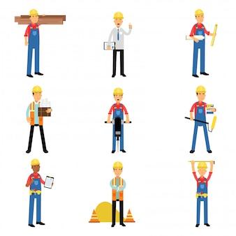 Bauingenieur industriearbeiter charaktere, die mit bauwerkzeugen und ausrüstung arbeiten