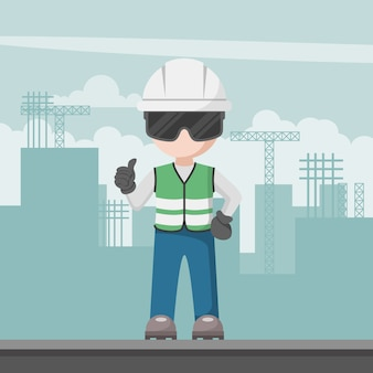 Bauingenieur mit seinem persönlichen schutzteam auf einer baustelle